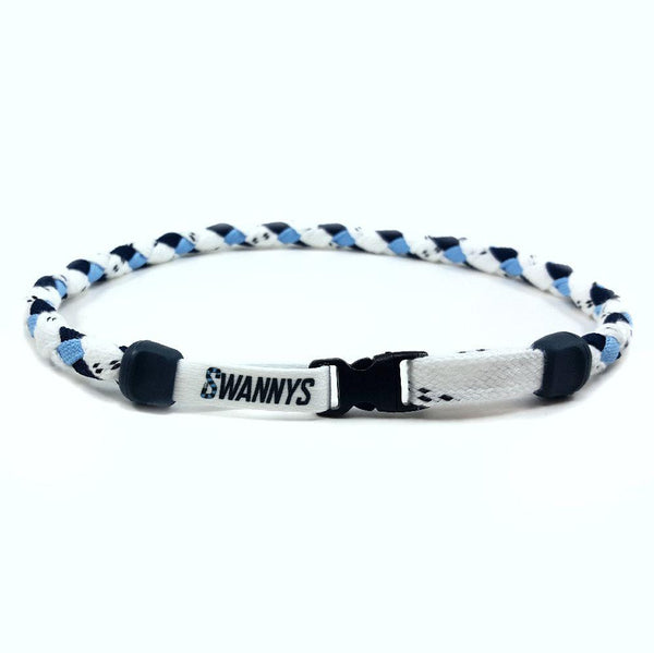 Hockey Lace Necklace - White, Navy Blue and Light Blue by Swannys