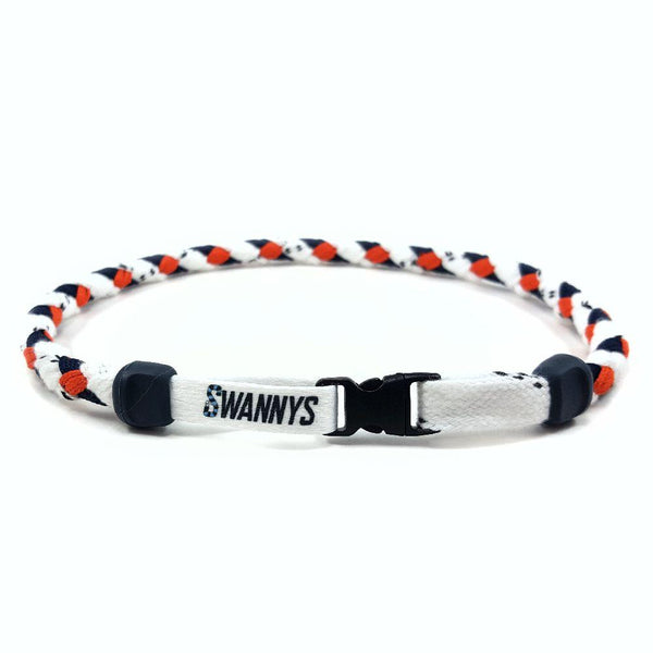 Hockey Lace Necklace - White, Navy Blue and Orange by Swannys