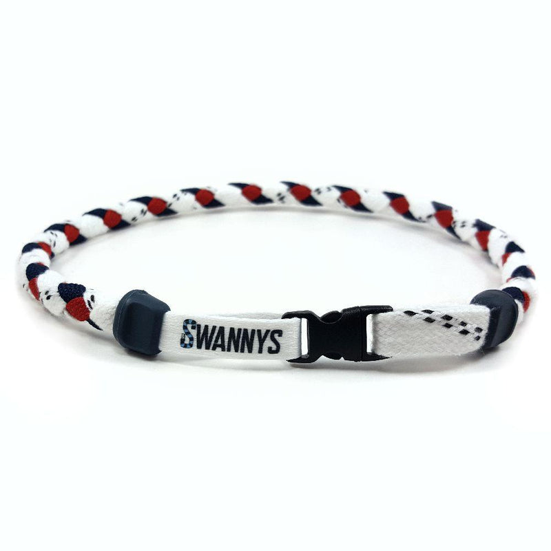 Hockey Lace Necklace - White, Navy Blue and Red by Swannys