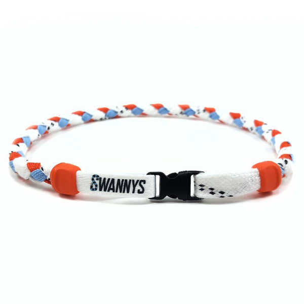 Hockey Lace Necklace - White, Orange and Light Blue by Swannys