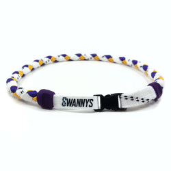 Hockey Lace Necklace - White, Purple and Gold by Swannys