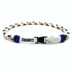 Hockey Lace Necklace - White, Royal Blue and Gold by Swannys