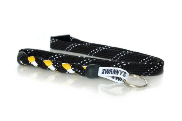 Black, Gold and White Hockey Lanyard - Swannys
