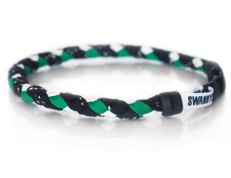 Hockey Lace Necklace - Black, Kelly Green and White by Swannys