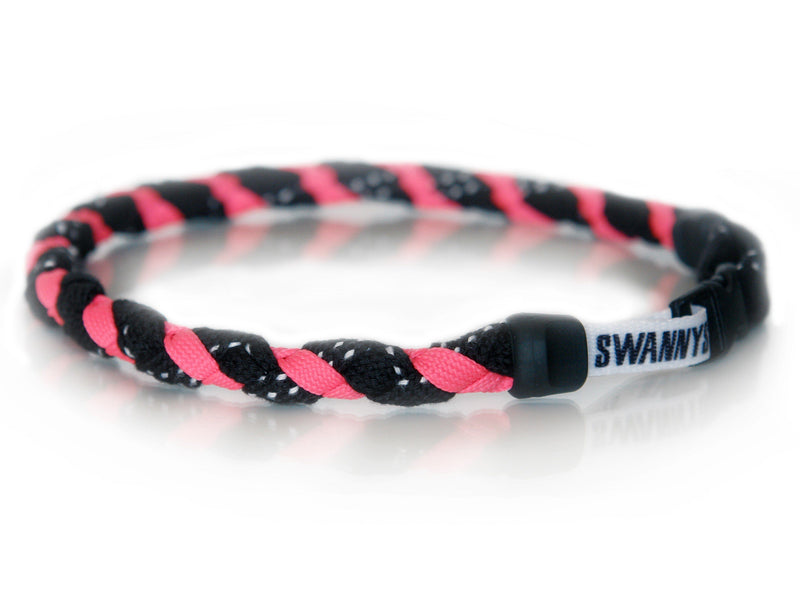 Hockey Lace Necklace - Black and Neon Pink by Swannys