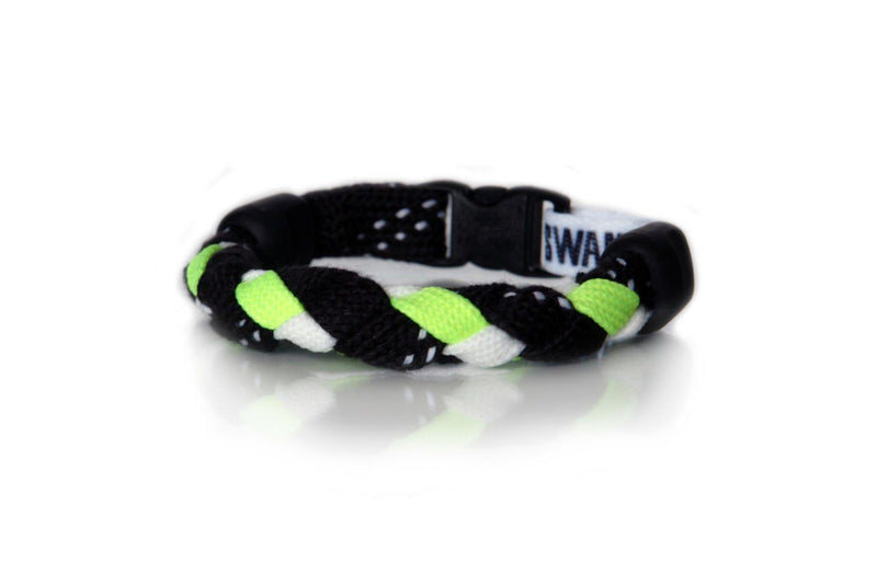 Black, Neon Yellow and White Hockey Bracelet - Swannys