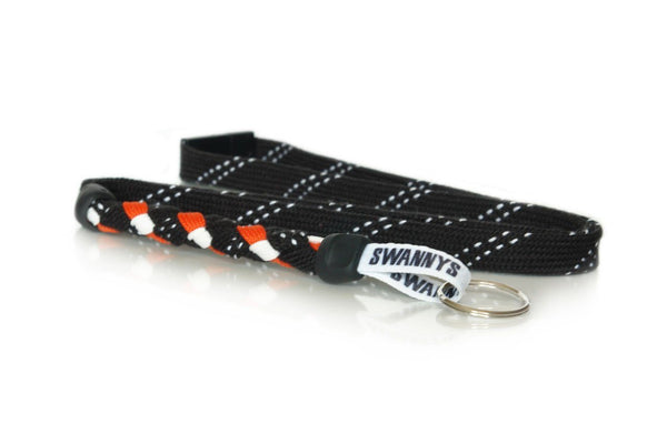 Black, Orange and White Hockey Lanyard - Swannys