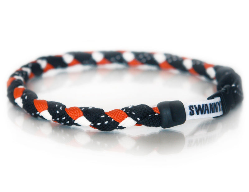 Hockey Lace Necklace - Black, Orange and White by Swannys