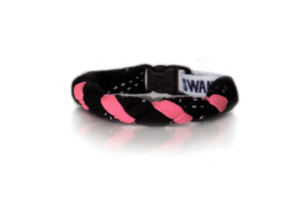 Black and Neon Pink Hockey Bracelet - Swannys