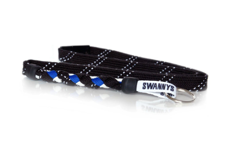 Black, Royal Blue and White Hockey Lanyard - Swannys