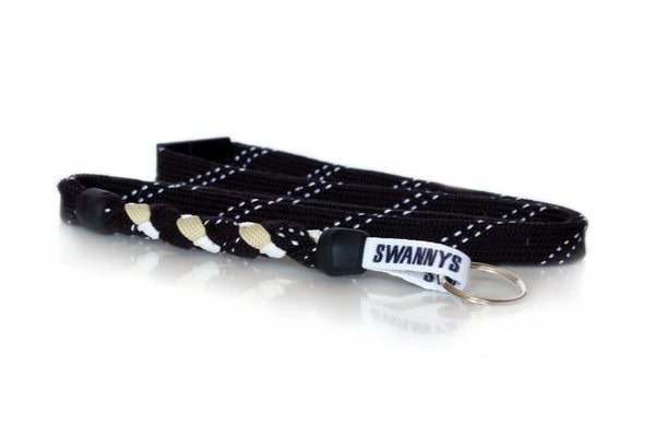 Black, Vegas Gold and White Hockey Lanyard - Swannys