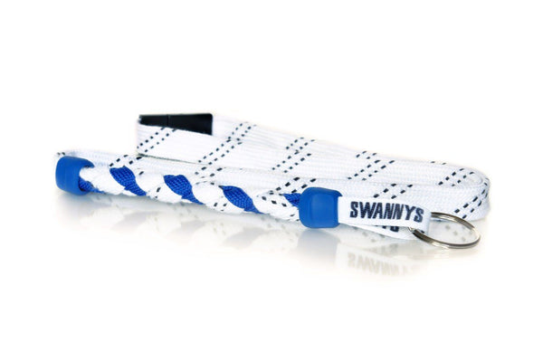 White and Royal Blue  Hockey Lanyard - Swannys