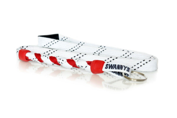 White and Red Hockey Lanyard - Swannys