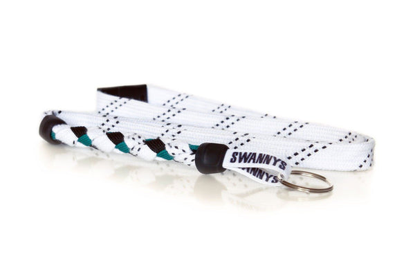 White, Black and Kelly Green Hockey Lanyard - Swannys
