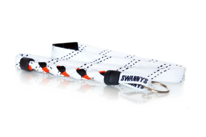 White, Black and Orange Hockey Lanyard - Swannys