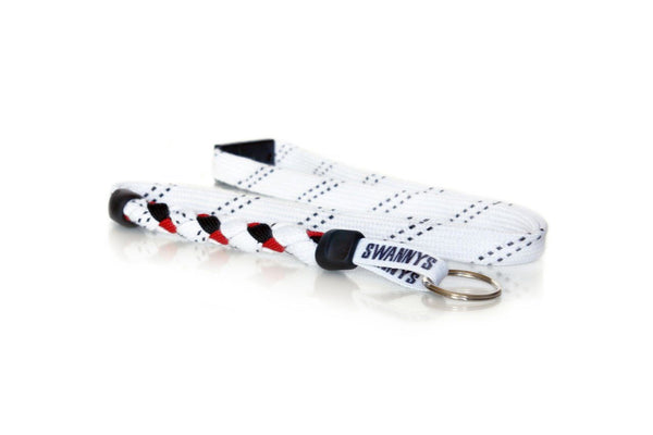 White, Black and Red Hockey Lanyard - Swannys