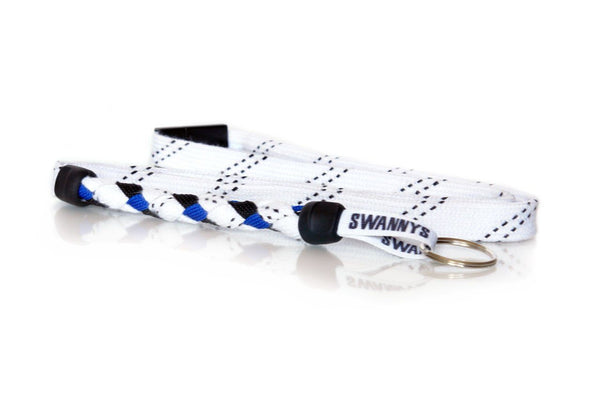 White, Black and Royal Blue Hockey Lanyard - Swannys