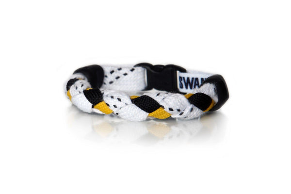 White, Black and Gold Hockey Bracelet - Swannys