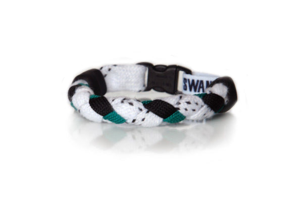 White, Black and Kelly Green Hockey Bracelet - Swannys
