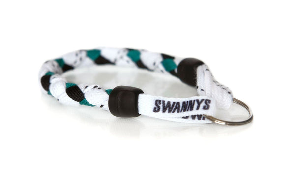 White, Black and Kelly Green Hockey Keychain - Swannys
