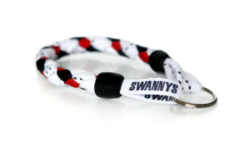 White, Black and Red Hockey Keychain - Swannys