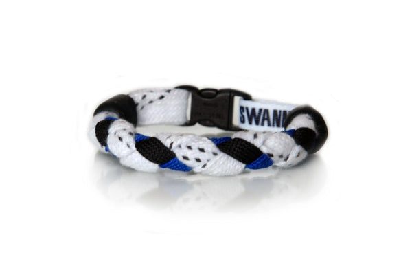 White, Black and Royal Blue Hockey Bracelet - Swannys