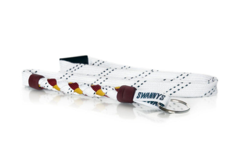 White, Maroon and Gold Hockey Lanyard - Swannys