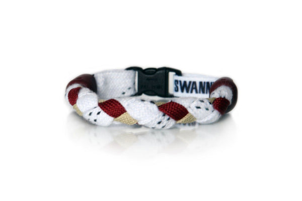 White, Maroon and Vegas Gold Hockey Bracelet - Swannys