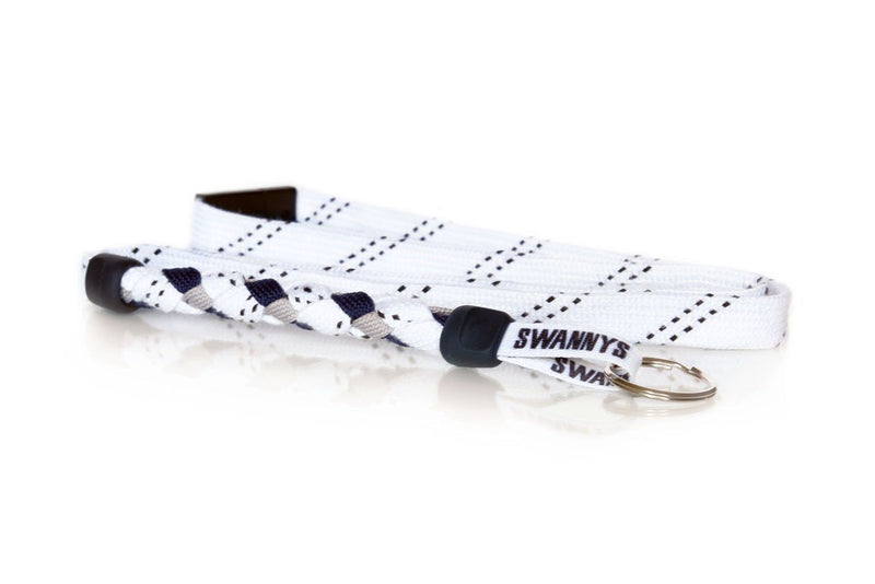White, Navy Blue and Gray Hockey Lanyard - Swannys
