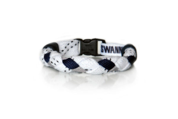 White, Navy Blue and Gray Hockey Bracelet - Swannys