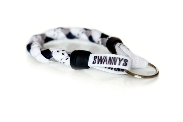 White, Navy Blue and Gray Hockey Keychain - Swannys