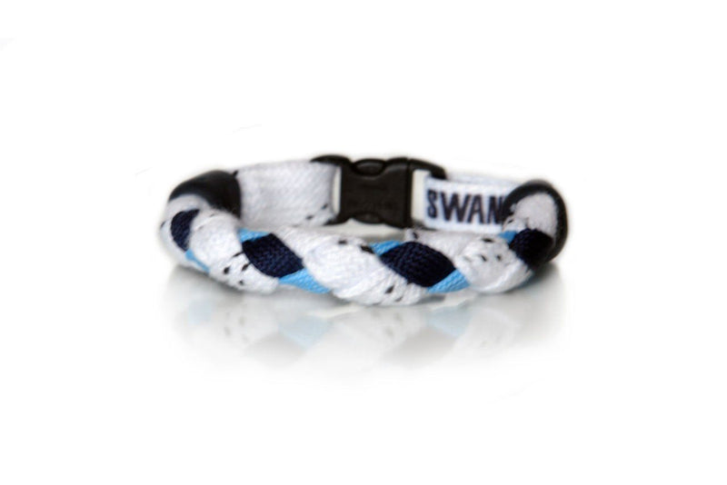 White, Navy Blue and Light Blue Hockey Bracelet - Swannys