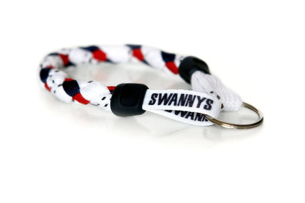 White, Navy Blue and Red Hockey Keychain - Swannys