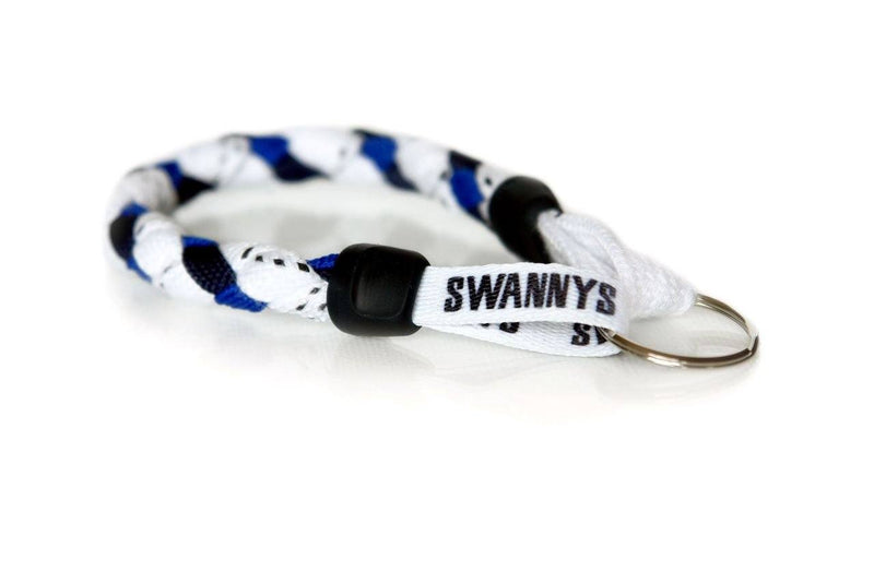White, Navy Blue and Royal Blue Hockey Keychain - Swannys