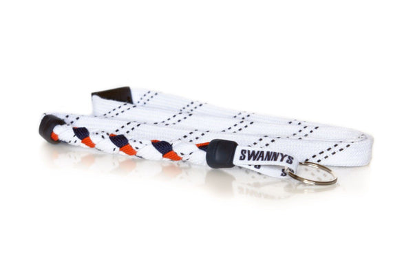 White, Navy Blue and Orange Hockey Lanyard - Swannys