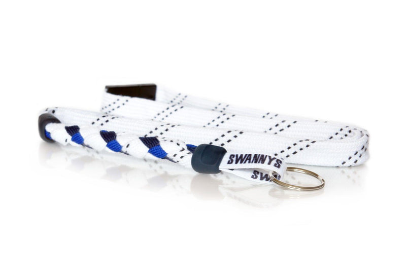 White, Navy Blue and Royal Blue Hockey Lanyard - Swannys