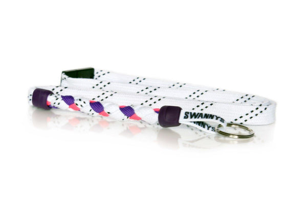 White, Purple and Pink Hockey Lanyard - Swannys