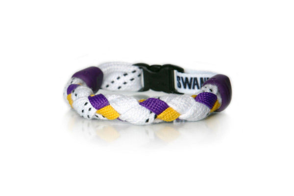 White, Purple and Gold Hockey Bracelet - Swannys