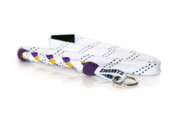 White, Purple and Gold Hockey Lanyard - Swannys
