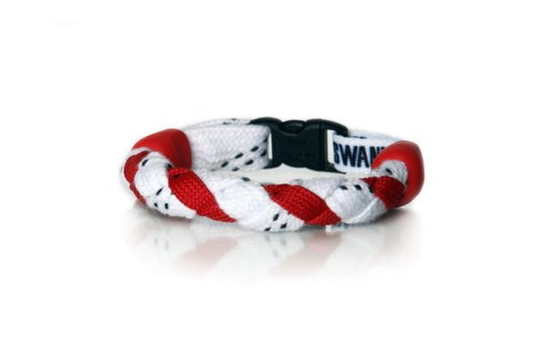 White and Red Hockey Bracelet - Swannys