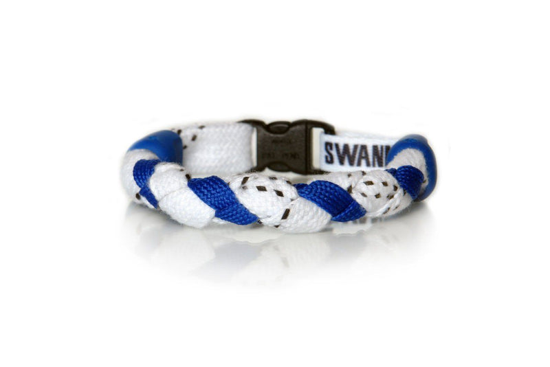 White and Royal Blue Hockey Bracelet - Swannys