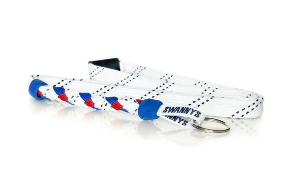 White, Royal Blue and Red Hockey Lanyard - Swannys