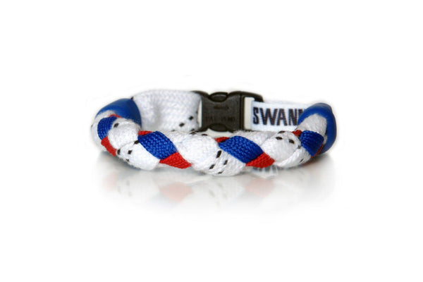 White, Royal Blue and Red Hockey Bracelet - Swannys