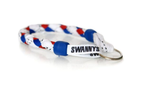 White, Royal Blue and Red Hockey Keychain - Swannys