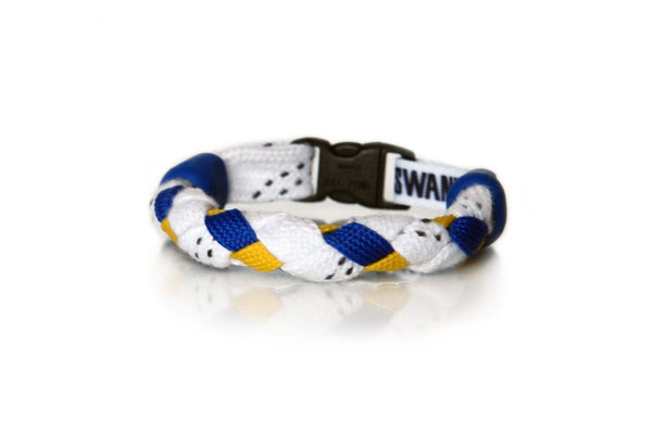 White, Royal Blue and Gold Hockey Bracelet - Swannys