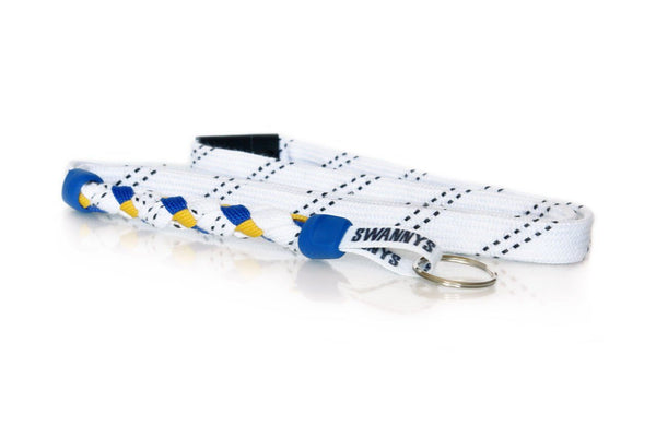 White, Royal Blue and Gold Hockey Lanyard - Swannys
