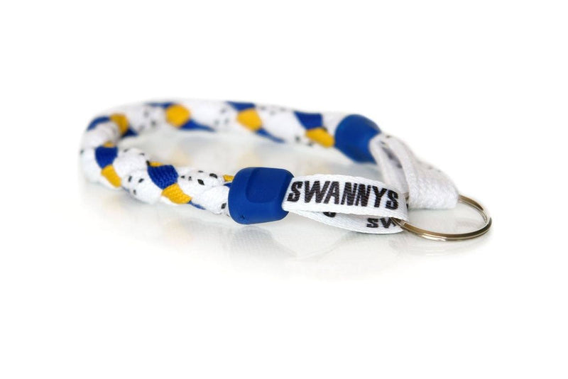 White, Royal Blue and Gold Hockey Keychain - Swannys