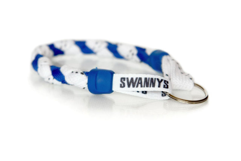White and Royal Blue  Hockey Keychain - Swannys