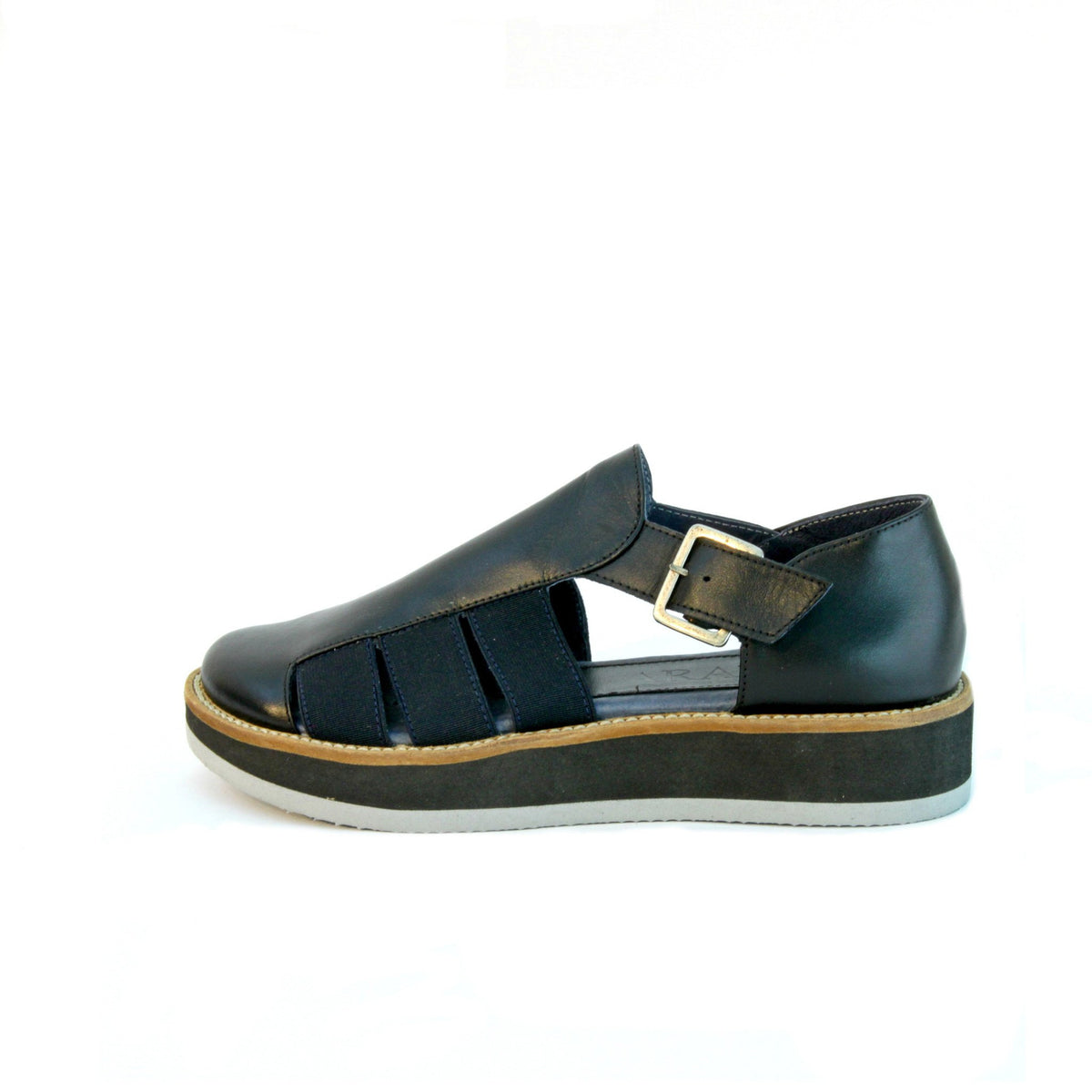 navy blue rubber & Black Leather  Woman's  wedge Sandals