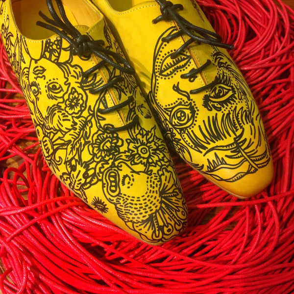 Handmade Illustrated Yellow Oxford Men's Shoes - One of a kind
